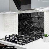 Disegno Cam Ocak Arkası Koruyucu 50x50 Cm Siyah Mermer Desenli