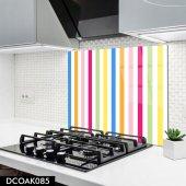 Disegno Cam Ocak Arkası Koruyucu 50x50 Cm Renkli Çizgi Desenli