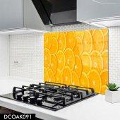 Disegno Cam Ocak Arkası Koruyucu 50x50 Cm Portakal Dilimi Desenli