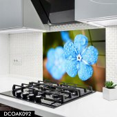 Disegno Cam Ocak Arkası Koruyucu 50x50 Cm Mavi Çiçek Desenli