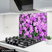 Disegno Cam Ocak Arkası Koruyucu 50x50 Cm Mor Çiçek Desenli