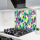 Disegno Cam Ocak Arkası Koruyucu 50x50 Cm Renkli Yaprak Desenli