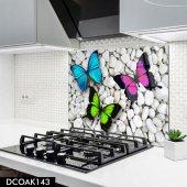 Disegno Cam Ocak Arkası Koruyucu 50x50 Cm Kelebek Desenli