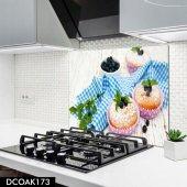 Disegno Cam Ocak Arkası Koruyucu 50x50 Cm Cupcake Desenli