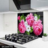 Disegno Cam Ocak Arkası Koruyucu 50x50 Cm Pembe Beyaz Çiçek