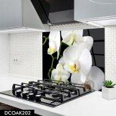 Disegno Cam Ocak Arkası Koruyucu 50x50 Cm Beyaz Çiçek Orkide