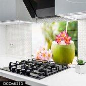 Disegno Cam Ocak Arkası Koruyucu 50x50 Cm Pembe Ve Beyaz Çiçekler