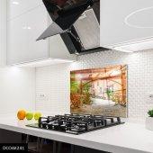 Disegno Cam Ocak Arkası Koruyucu 50x50 Cm Taş Ev