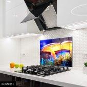 Disegno Cam Ocak Arkası Koruyucu 50x50 Cm Mantar Desenli