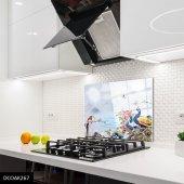 Disegno Cam Ocak Arkası Koruyucu 50x50 Cm Tavus Kuşu