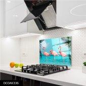 Disegno Cam Ocak Arkası Koruyucu 50x50 Cm Flamingolar
