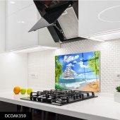 Disegno Cam Ocak Arkası Koruyucu 50x50 Cm Deniz