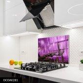 Disegno Cam Ocak Arkası Koruyucu 76x49,5 Cm Lila
