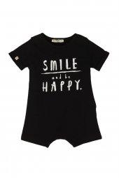 Cigit Smile Happy Baskılı Siyah Tulum