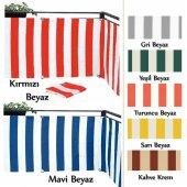 Balkon Korkuluğu Brandası Pamuklu Dokuma Çizgili Kumaşı Kırmızı-Beyaz 100 cm X 9 Mt.