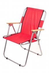Katlanır Kamp/Bahçe Sandalyesi (Ahşap Kolçaklı)-5