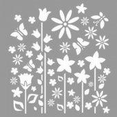 Kelebekli Çiçek Tarlası Stencil Tasarımı 30 x 30 cm