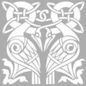Crane Kuş Motif Stencil Tasarımı 30 x 30 cm