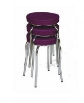 Tabure Mutfak Sandalyesi 3 Adet Mor