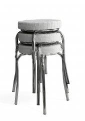 Tabure Mutfak Sandalyesi 3 Adet Beyaz