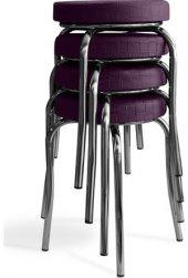Tabure Mutfak Sandalyesi 4 Adet Mor