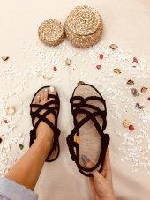 Nyla Siyah Halatlı Sandalet