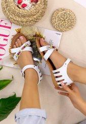 Ayline Beyaz Cilt Sandalet