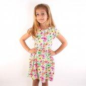 Dalmaz Kız Renkli Kelebekli Kısa Kollu Fiyonklu Elbise 1-2 Yaş DLM-0374