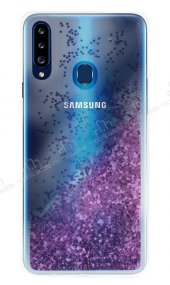 Samsung Galaxy A20S Simli Sulu Mor Rubber Kılıf