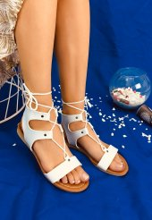 Tina Beyaz Cilt Sandalet
