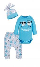 Erkek Bebek Baskılı Mavi Zıbın Set
