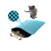 Elekli Kedi Tuvalet Önü Paspası Mavi