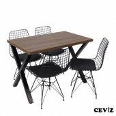 Masa Sandalye Takımı X Ayaklı Masa Tel Sandalye...