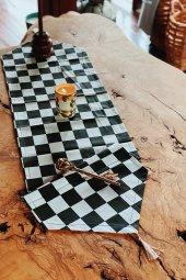 Damalı Duck Keten Runner