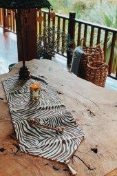 Kahverengi Zebra Desenli Duck Keten Runner