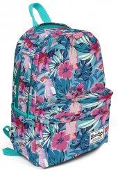 Coral High Üç Gözlü Tropikal Çiçek ve Kuş Desenli Okul ve Günlük Sırt Çantası - 15,6 inc Laptop Bölmeli