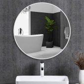Chic Life Alterf Dekoratif Beyaz Çerçeveli Yuvarlak Ayna 70 cm x 70 cm