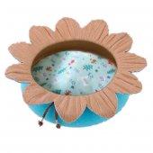 çiçek Şekilli Kedi Yatağı Mavikahve � 50 H15 Cm