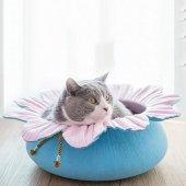 Pets Çiçek Şekilli Kedi Yatağı Pembemavi � 50 Cm