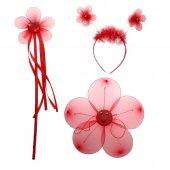 Çiçekli Kanat Seti 3 Parça - Kırmızı