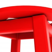 Döner Tabure 60cm Kırmızı İskelet Tabla Renk...