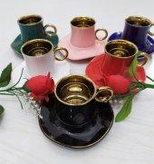 Arow Lüx Renkli Kahve Fincan Takımı 6 Kişilik-6 Renk