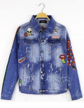 Black Island Denim Jacket Streetwear Kot Ceket Full Sticker Tiger
