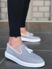 BA0122-BOA Yüksek Taban Püsküllü Klasik Keten Gri Beyaz Erkek Ayakkabı