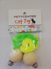 Kedi Oyuncak Ahşap İkili Peluş Sarı Yeşil