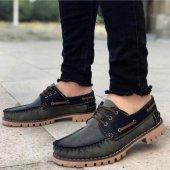 BA0037 Bağcıklı Corcik Haki Siyah Klasik Erkek Ayakkabısı