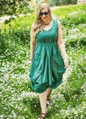 Belden Bağlamalı V Yaka Büyük Beden Yeşil Elbise