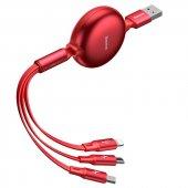 Baseus Little Octopus 3in1 3.5A 1.2M Makaralı Şarj Kablosu - Kırmızı