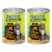 Jungle Kuzu Etli Sebzeli Konserve Kedi Maması 415 gr x 2 Adet
