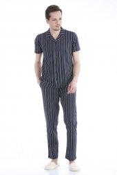 Dagi Ese26002 Pamuklu Gömlek Çizgili Kısa Kol Pijama Takım